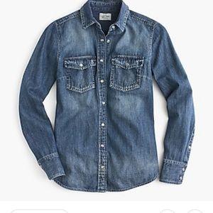 J. Crew western Chambray vintage indigo blue shirt
